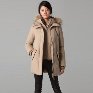 Mackage Marla Mid Length Down Parka with Fur and Removable Bib